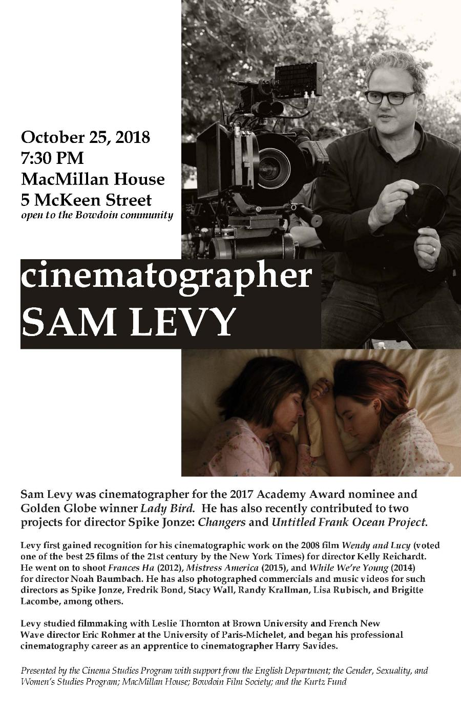 An Evening with Cinematographer Sam Levy