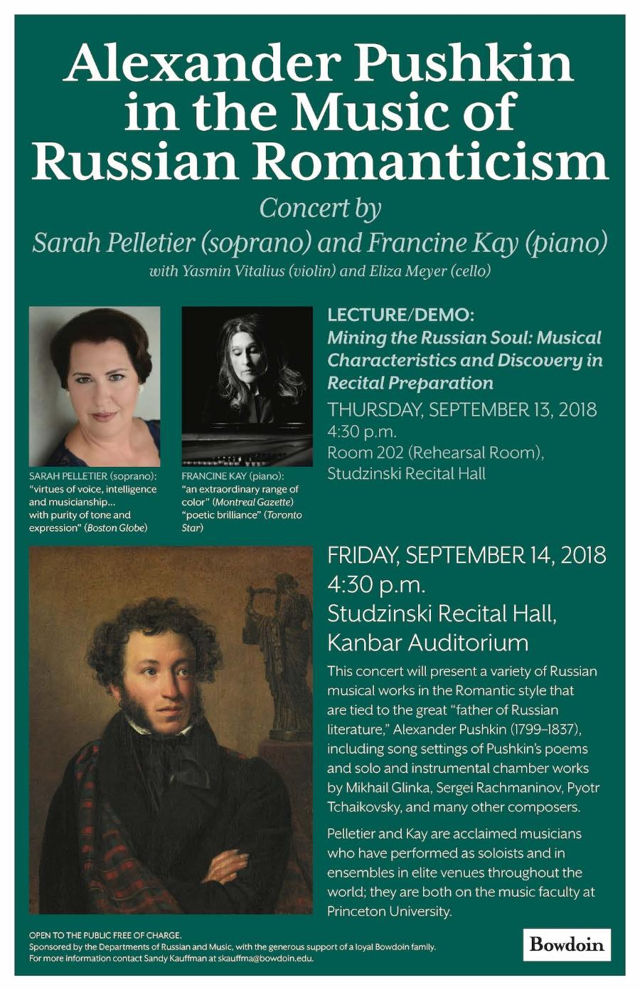 Alexander Pushkin in the Music of Russian Romanticism, with Soprano Sarah Pelletier and Francine Kay on Piano
